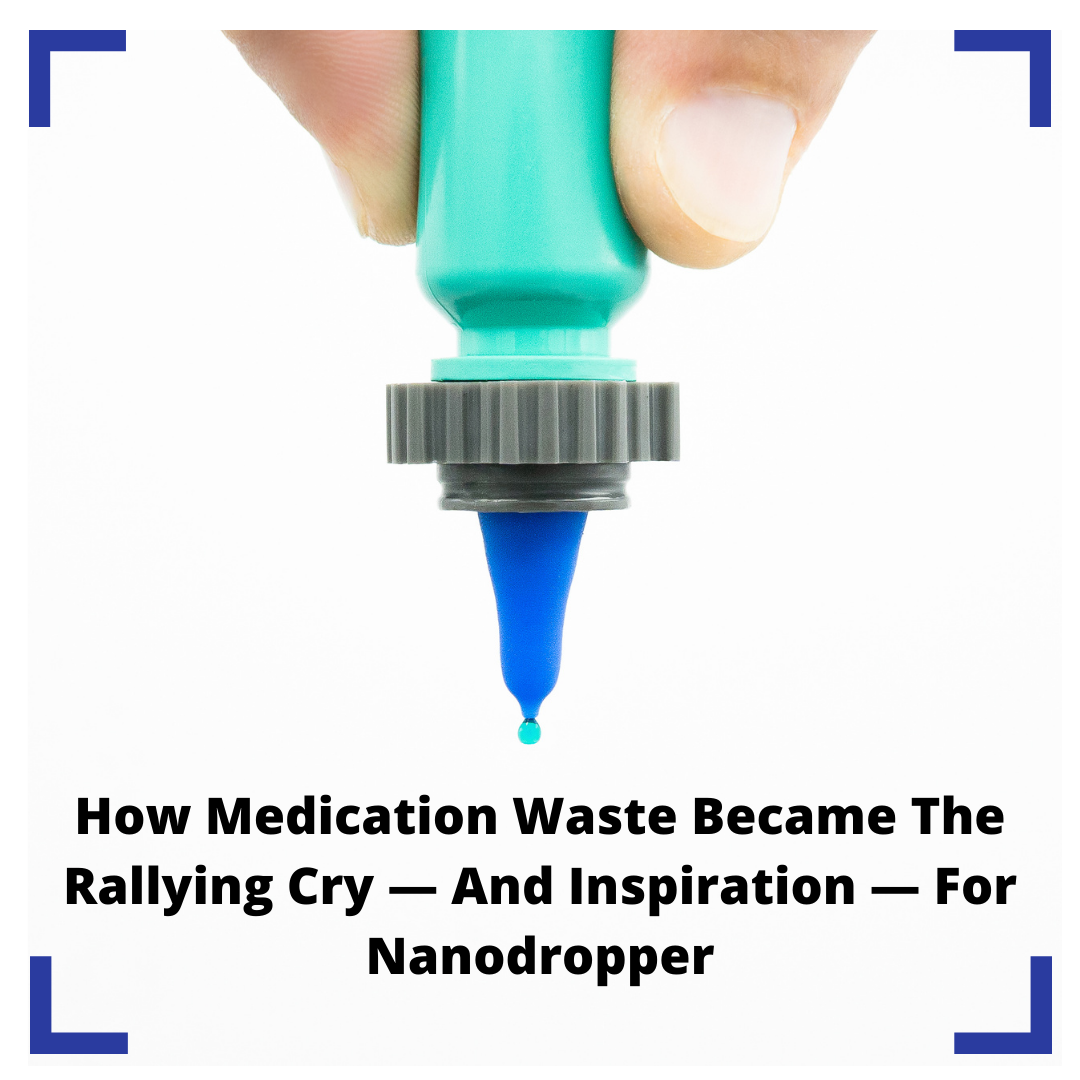 the nanodropper adaptor attached to an eyedrop bottle with the blog post headline below