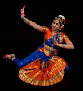 Sahana dancing in traditional Indian dress