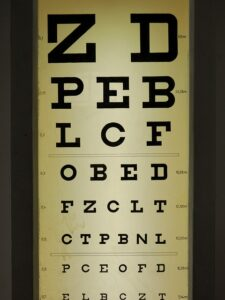 a chart that is used to measure a patient's eyesight level