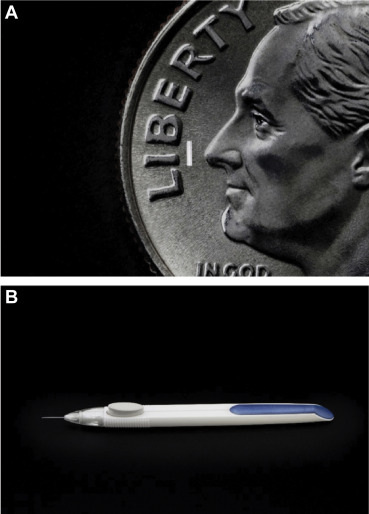 comparing a dime to the size of a durysta injection